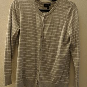 Grey and white striped cardigan w silver buttons